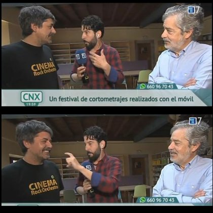 On television with film director Carlos Iglesias talking about the Festival